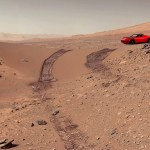 Cherry Red Tesla Roadster on Mars