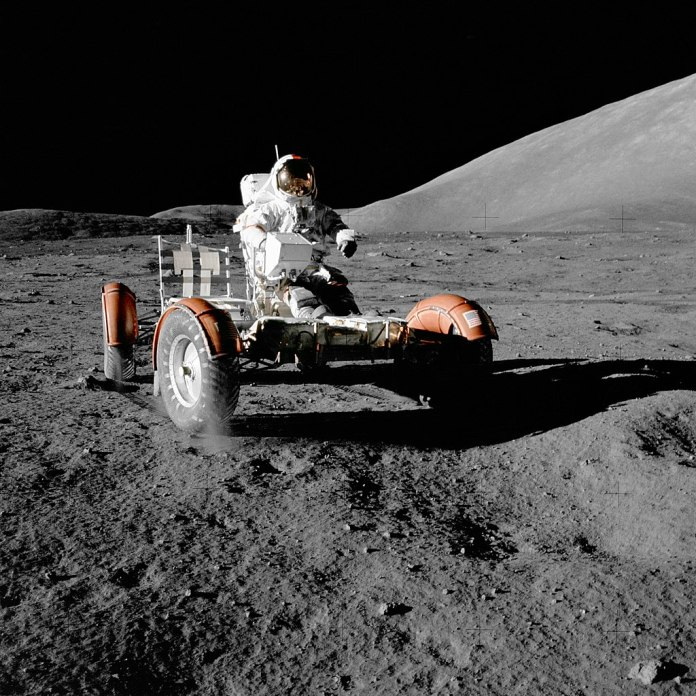 Eugene Cernan test drives the Apollo 17 lunar rover - NASA