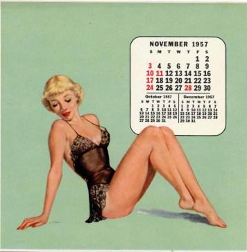 November 1957 calendar pin up
