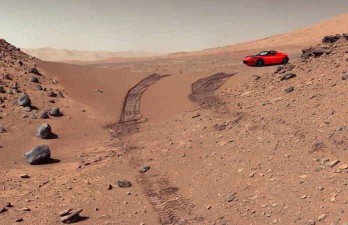 Red Tesla Roadster on Mars - NASA image