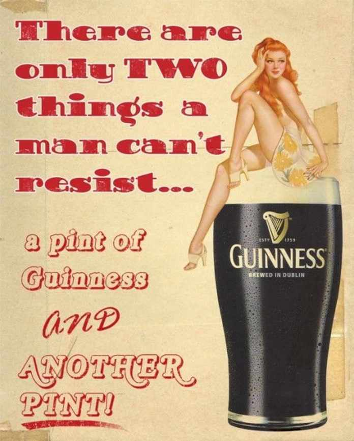 Girl on top of a glass of Guinness