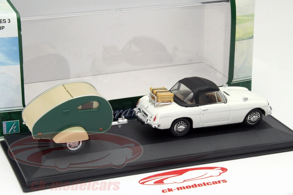MGB model with travel trailer