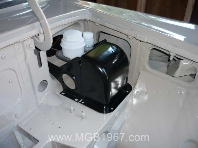 Restored MGB pedal box with new clutch and brake cylinders