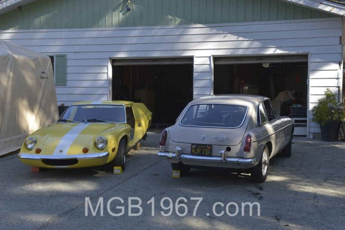 MGB GT hanging out with Lotus Europa
