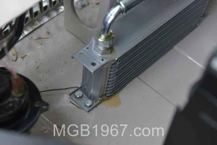 MGB GT oil cooler leak