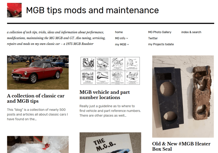 MGB tips mods and maintenance