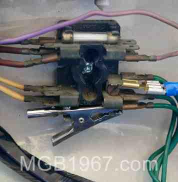 MGB using an alligator clip fuse