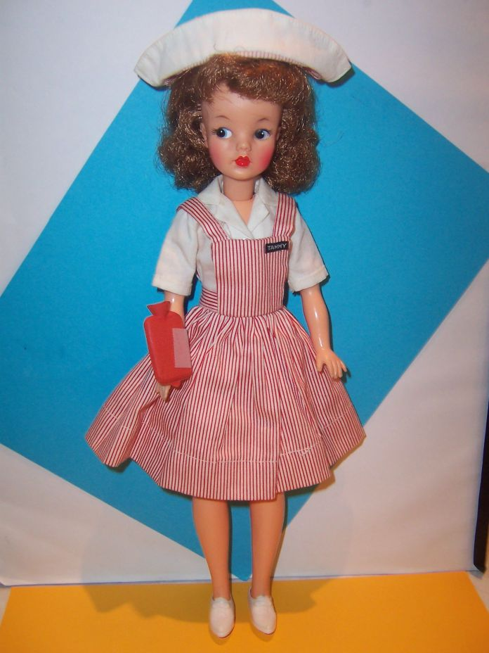 Tammy doll in Nurse Candy Striper Outfit red & white jumper