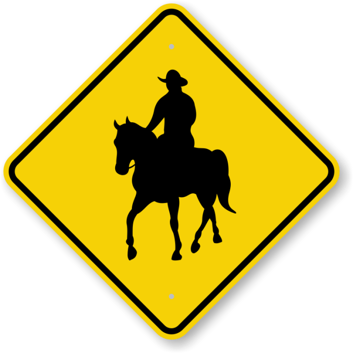 Horse riding sign