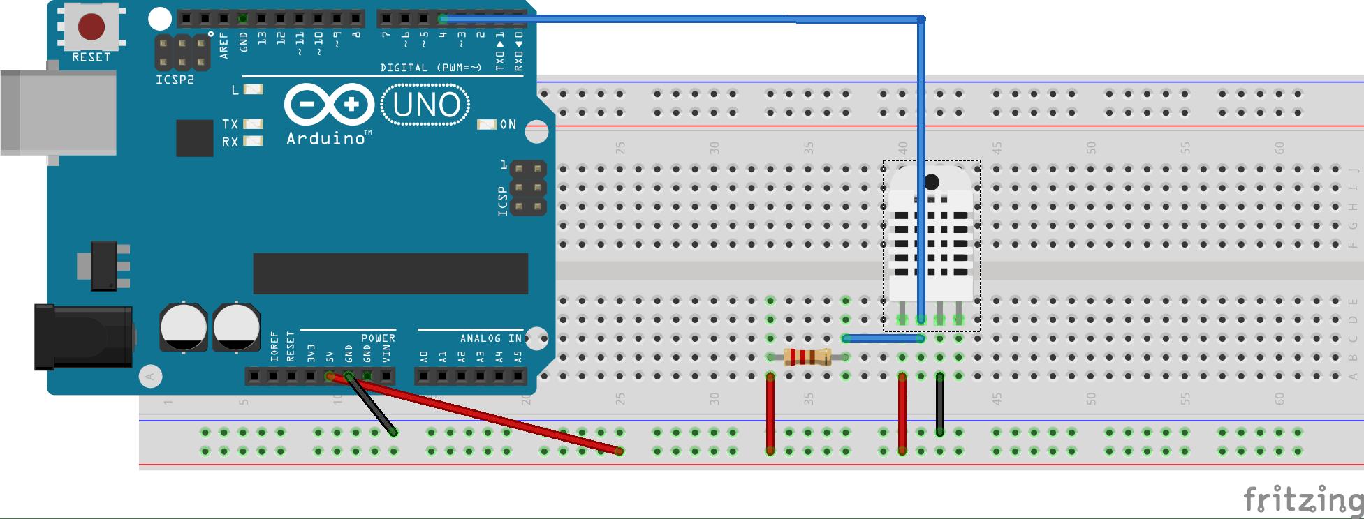 Misurare temperatura e umidità con arduino-schema collegamento