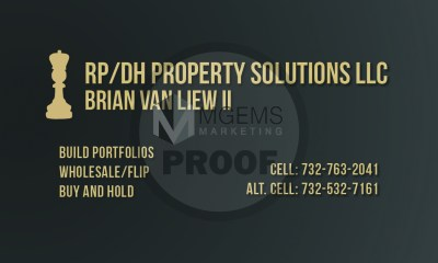 RP/DH Property Solutions LLC Business Card (Back)