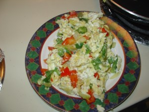 1 whole egg, 3 Egg whites + veggies