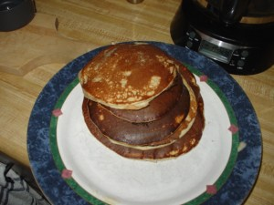 "5 stack of 4-5"" pancakes"