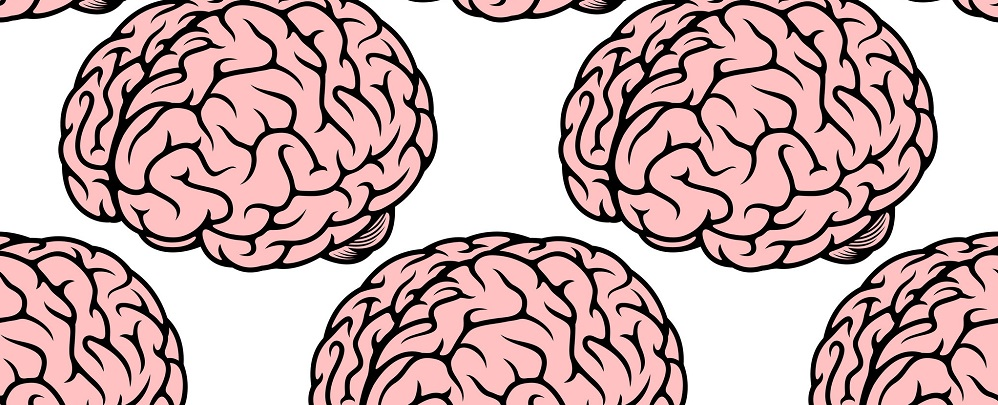 42857445 - seamless pattern with repeated pink human brain on white background for medicine design