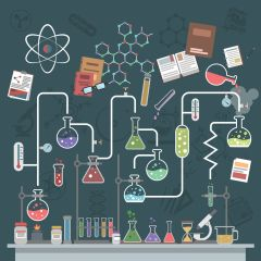 41533886 - science lab concept with flat flasks and physics symbols vector illustration