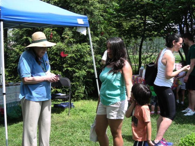 Carol Kilroy staffs the information tent.