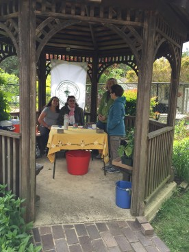 Master Gardeners are ready to assist customers in the patio garden