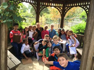 Ms McAleer with her 3rd grade class from Campbell Elementary gather in the gazebo with their mapping clipboards