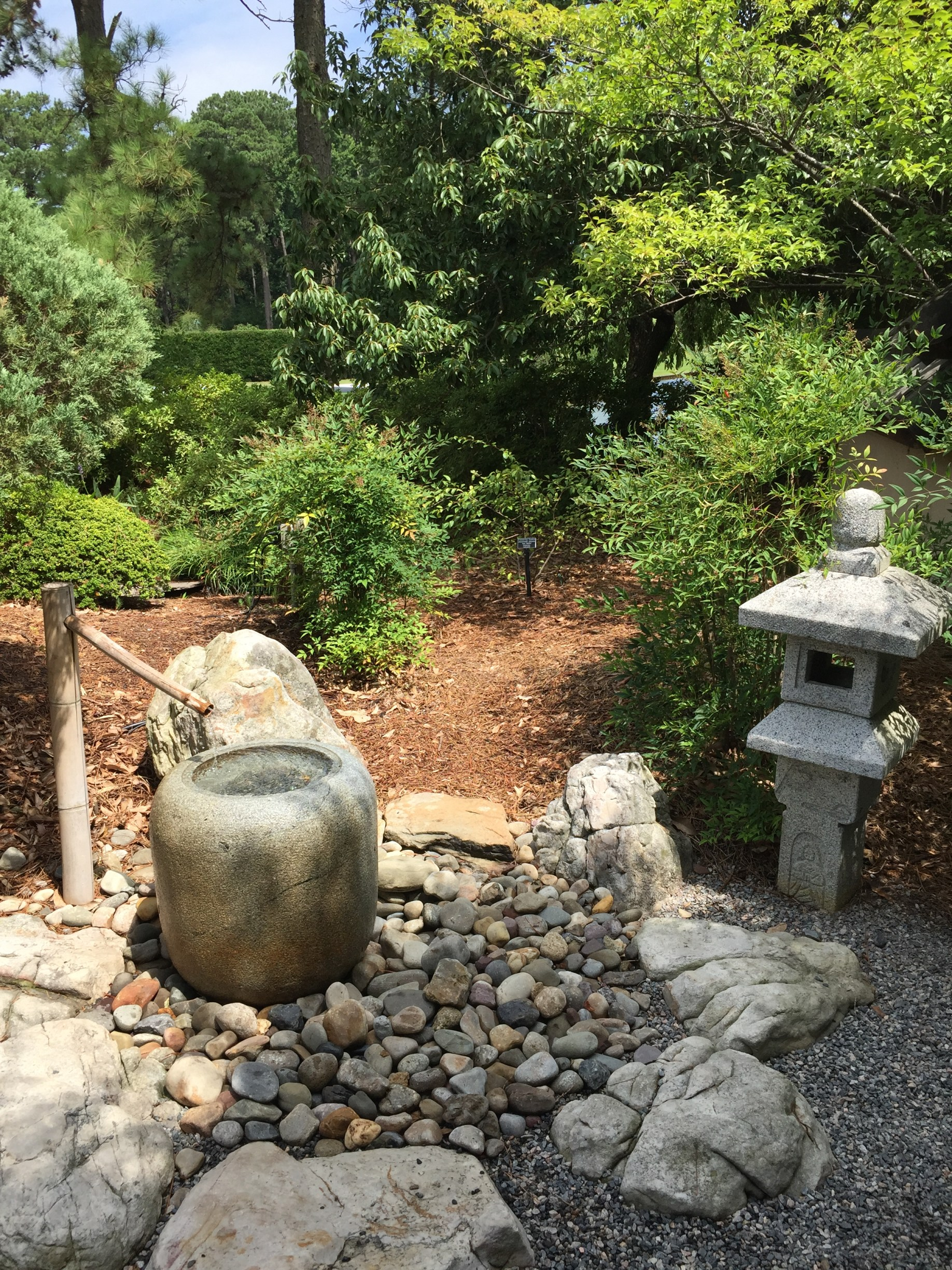 A fountain and lotus pool introduce water elements in the Japanese Garden. Photo © 2018 Elaine Mills.