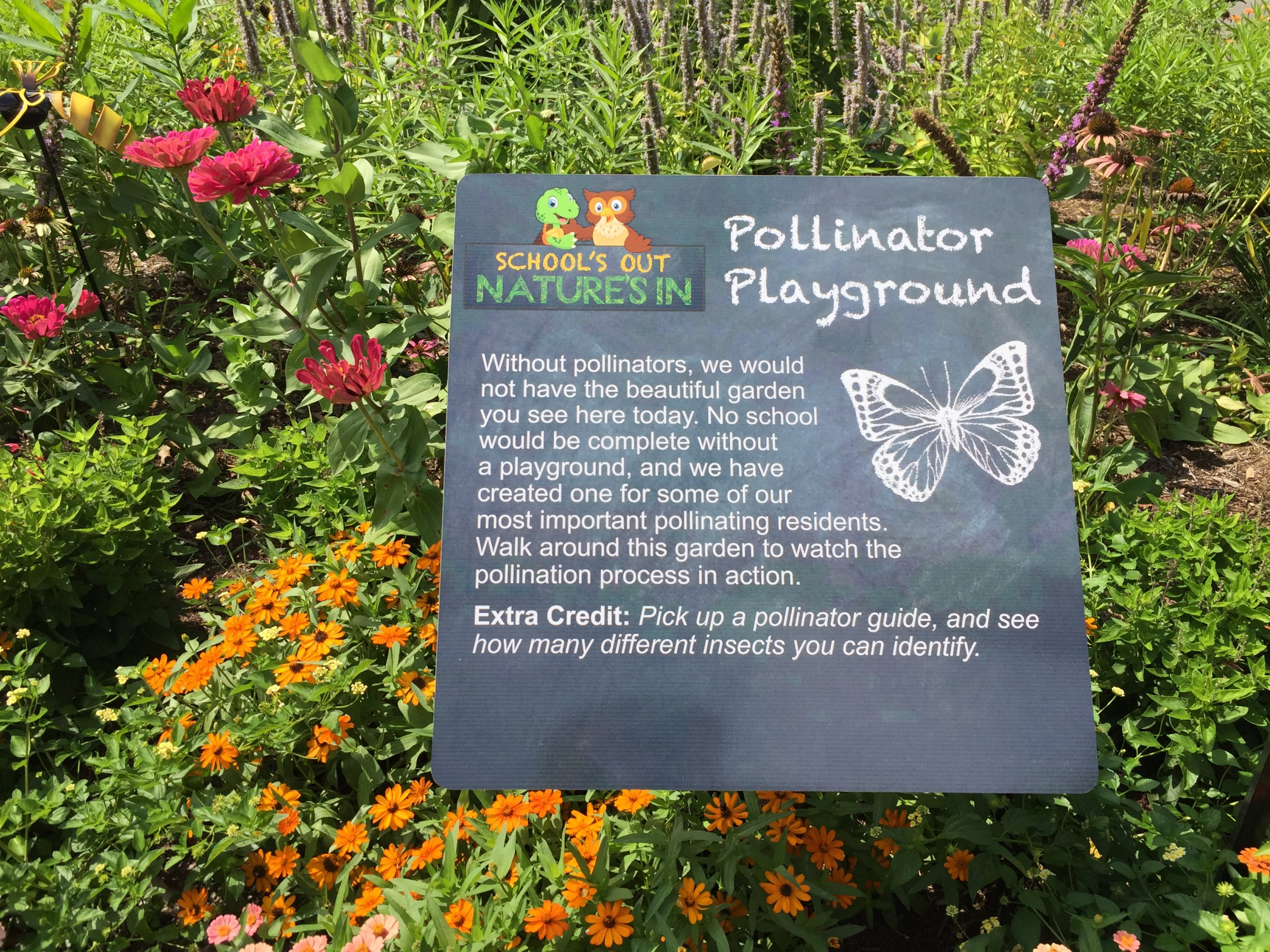 Educational signage in the WOW Garden. Photo © 2018 Elaine Mills.