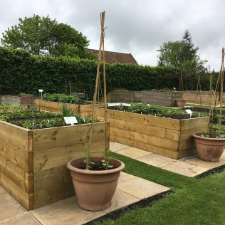 Raised beds in the Children's Garden at Alnwick Castle, Northumberland, England Photo © 2019 Nancy Smith Brooks