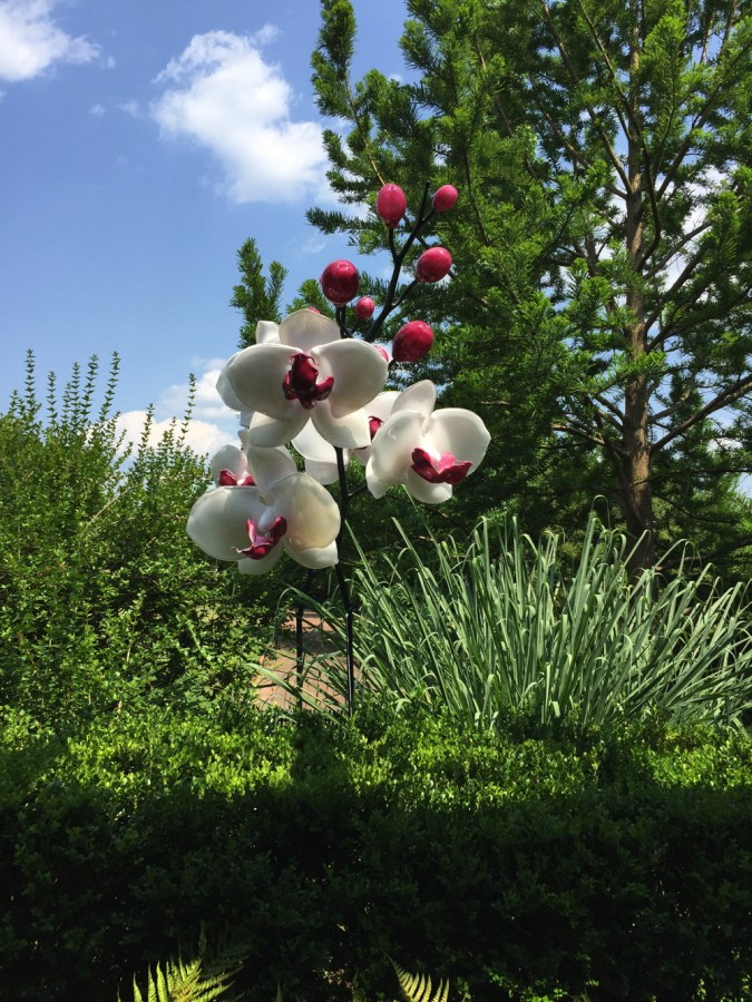 One of the glass orchids in the Grandiflora garden installation.