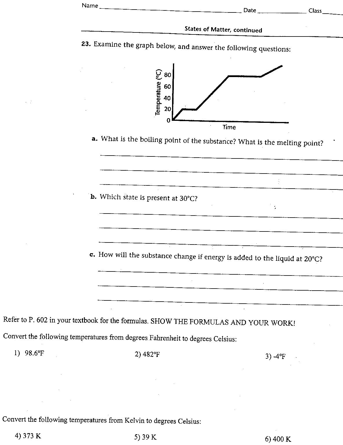 Heating Curve Worksheet Ver 2