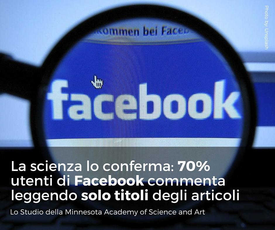 Nuovo studio conferma- il 70% degli utenti su Facebook commenta i titoli degli articoli