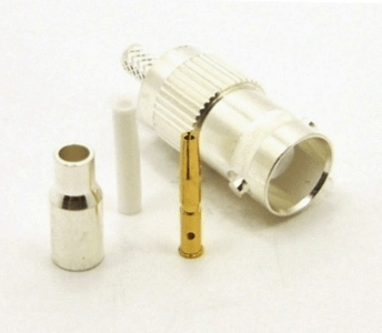 BNC-female, cable end, crimp-on, silver / Teflon for RG-174, RG-178, RG-188, RG-196, RG-316, LMR-100A, and Belden 8216 coaxial cable. (P/N: 7006-174)