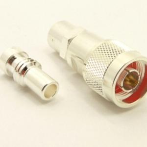 N-male, cable end, solder-on, silver / Teflon, plus 1 x UG-175 (SKU#: 7507-S) Reducer for N-male, solder on, connectors. UG-175 for RG-142, RG-400, RG-58, RG-58A/U, LMR-195, LMR-200, Belden 7807, Belden 8219, Belden 8259, and Belden 9201 coaxial cable. (P/N: 7303-58)