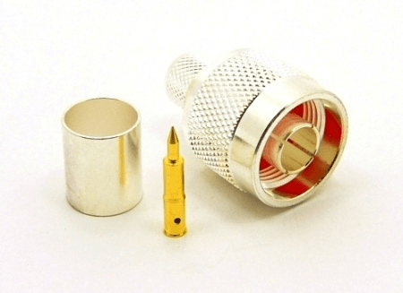N-male, Cable end, crimp-on, silver plated brass, Teflon dielectric, gold pin for RG-8, RG-11, RG-83, RG-213, RG-214, RG-393, LMR-400, Belden 8237, Belden 8267, Belden 8268, Belden 9011, and Belden 9913 coaxial cable. (P/N: 7305-400)