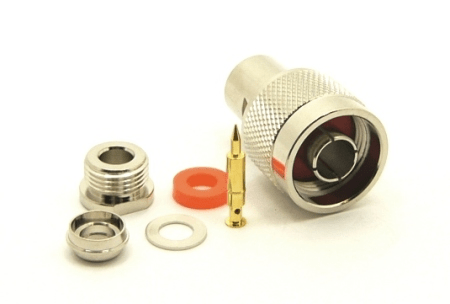 N-male, cable end, compression, for RG-142, LMR-195, LMR-200, RG-316, RG-400, RG-58, and Belden 7807, Belden 8219, Belden 8259, and Belden 9201 coaxial cable. (P/N: 7305-A)