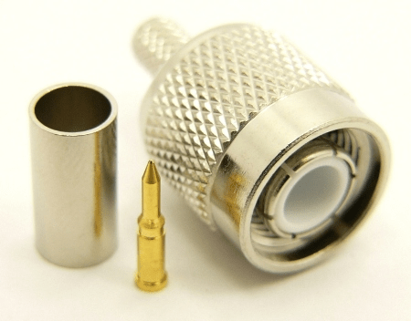 TNC-male, cable end, crimp on, for RG-142, RG-400, RG-58, RG58A/U, LMR-195, LMR-200, Belden 7807, Belden 8219, Belden 8259, and Belden 9201 coaxial cable. (P/N: 7405-58)