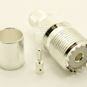 UHF-female, cable end, crimp-on, silver / Teflon for RG-6, RG-223, RG-59, Belden 8214, Belden 8218, Belden 8281, RG-62, LMR-240, and RG-8X coaxial cable. (P/N: 7506-8X)