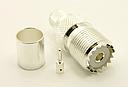 UHF-female, cable end, crimp-on, silver / Teflon for for RG-8, RG-11, RG-83, RG-213, RG-214, RG-393, LMR-400, Belden 8237, Belden 8267, Belden 8268, Belden 9011, and Belden 9913 coaxial cable. (P/N: 7506-400)