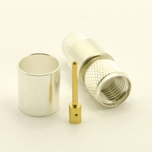Mini-UHF-male, cable end, crimp-on, silver / Teflon for RG-8, RG-11, RG-83, RG-213, RG-214, RG-393, LMR-400, Belden 8237, Belden 8267, Belden 8268, Belden 9011, and Belden 9913 coaxial cable. (P/N: 7600-400)