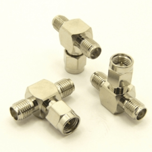 SMA-female / SMA-male / SMA-female Adapter, Tee (P/N: 7841-T)