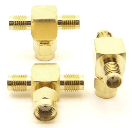 SMA-female / RP-SMA-male / SMA-female Adapter, Tee (P/N: 7849-T)