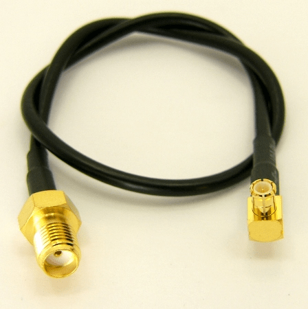 SMA-female / MCX-male, Right Angle with 10 inches of RG-174 coaxial cable (P/N: 8101-CBL-10-RA)