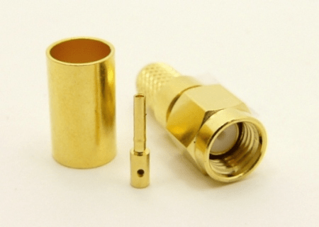 RP-SMA-male, cable end, crimp-on for RG-223 RG-59 LMR-240 and RG-8X mini 8 (P/N: 8895-8X)