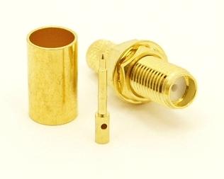RP-SMA-female bulkhead, cable end, crimp-on for RG-223 RG-59 LMR-240 and RG-8X mini 8 (P/N: 8897-8X)