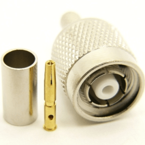 RP-TNC-male, cable end, crimp-on, for RG-142, LMR-195, LMR-200, RG-316, RG-400, RG-58, and Belden 7807 coaxial cable. (P/N: 8900-58)