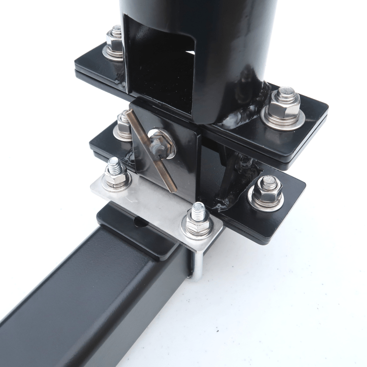 Trailer Hitch Mast Mount Assembley Tilt and Cross attached to Hitch Bar with support tube attached fully assembled correct orientation - Max-Gain Systems, Inc.