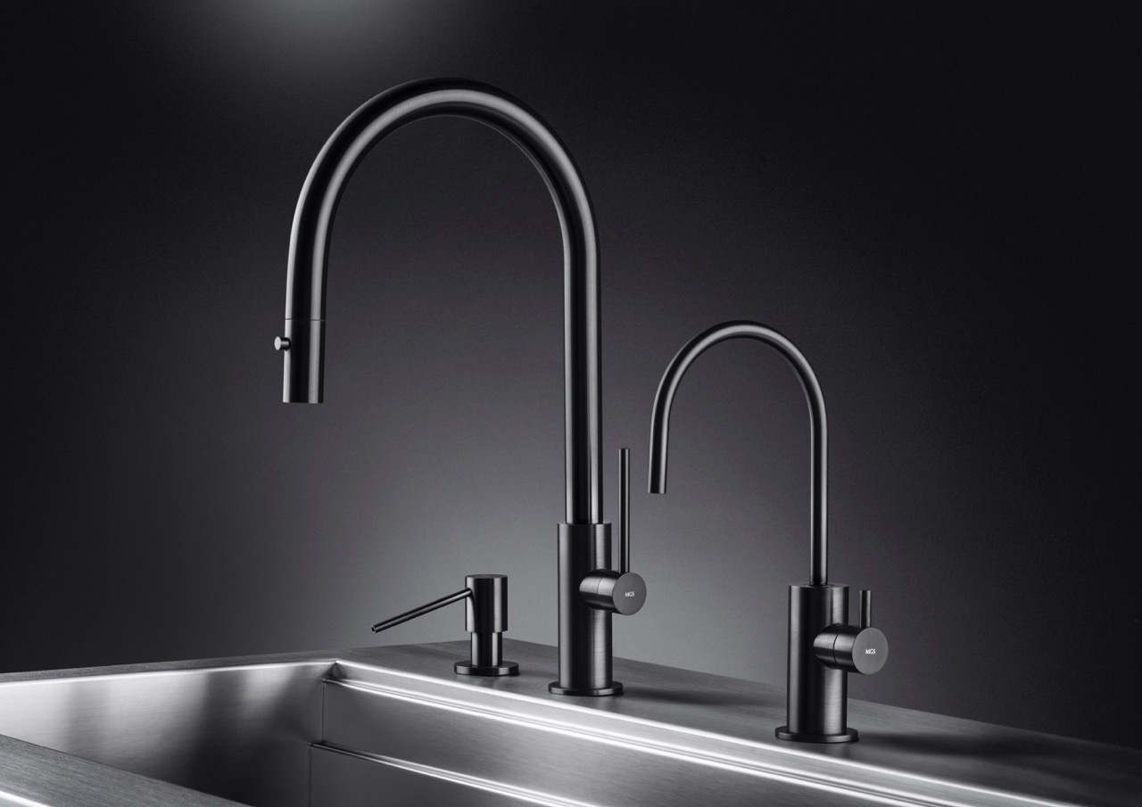 black stainless steel kitchen faucet