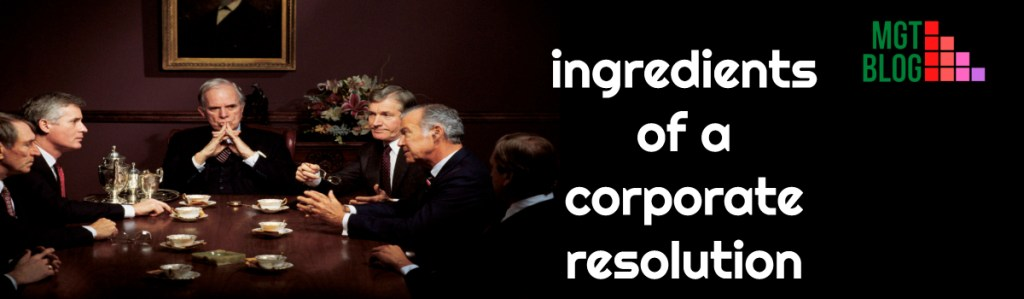 ingredients of a corporate resolution