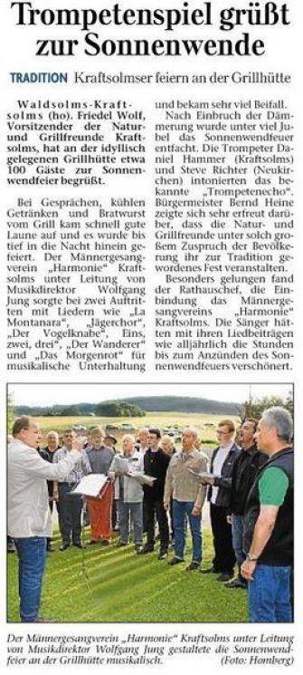 02 07 2013 trompetenspiel gruesst zur sonnenwende - Zeitungsberichte