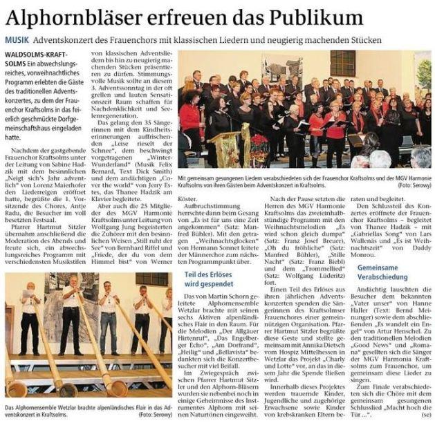 16.12.2015 Alphornbläser erfreuen das Publikum