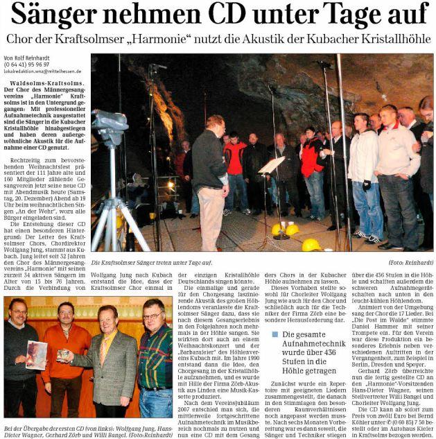 20 12 2008 saenger nehmen cd unter tage auf - Zeitungsberichte