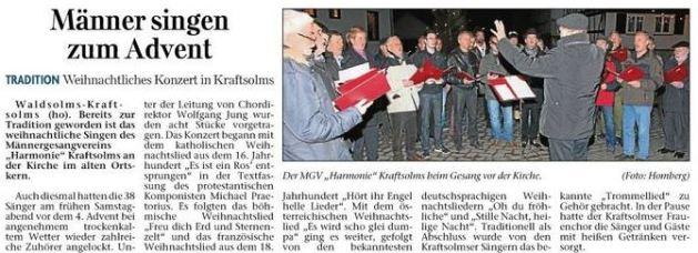 23 12 2013 maenner singen zum advent - Zeitungsberichte