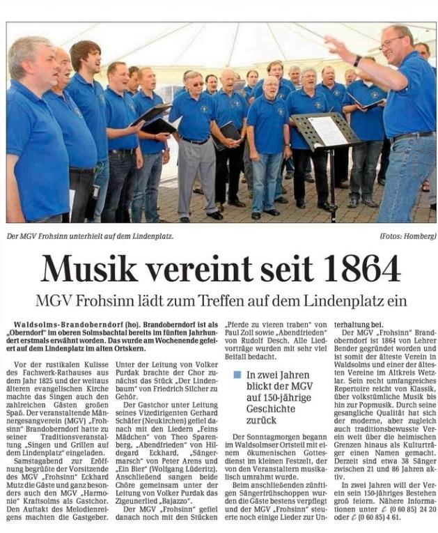 24 07 2012 musik vereint seit 1864 - Zeitungsberichte